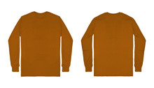 Blank Plain Brown Long Sleeve T Shirt Front And Back View Isolated On White Background. Set Of Long Sleeve Tee, Ready For Your Mockup Design