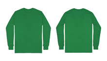 Blank Plain Green Long Sleeve T Shirt Front And Back View Isolated On White Background. Set Of Long Sleeve Tee, Ready For Your Mockup Design