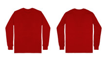 Blank Plain Red Maroon Long Sl...