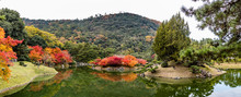 Panorama Of A Japanese Garden With Red, Orange And Yellow Trees Reflected In A Placid Lake