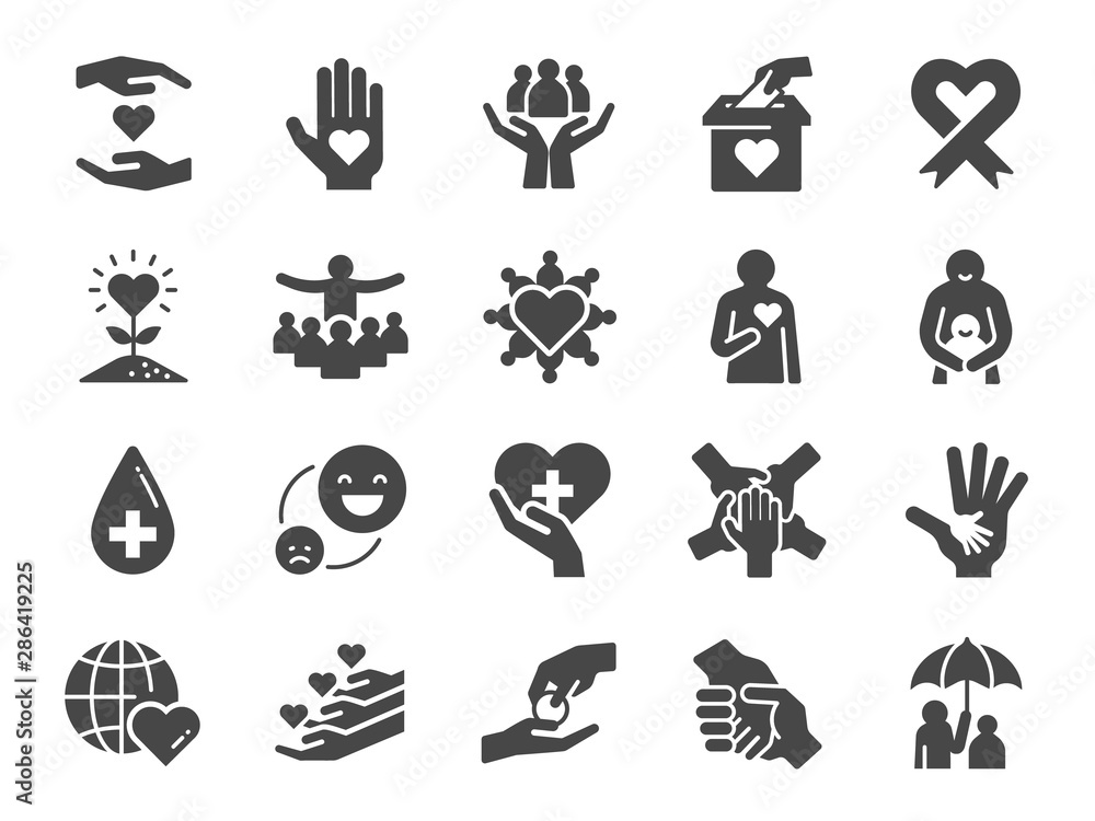 Fototapeta Charity icon set. Included icons as kind, care, help, share, good, support and more.