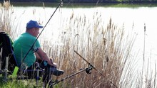 Side View. Fisherman Sits On A Chair On The Bushy Grass Shore Lake And Fishing