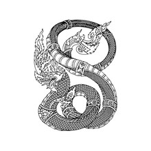 Thai Naga  Isolate Vector, Line Thai Is Thailand Style And Tattoo Design.