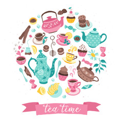 Fototapeta Do cukierni tea time circle composition