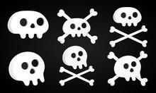 6 Simple Flat Style Design Sculls With Crossed Bones Set Icon Sign Vector Illustration Isolated On Black Background. Human Part Head, Jolly Roger Pirat Flag Symbol Or Halloween Scary Decoration