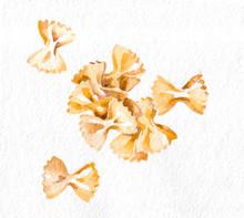 Pasta. Farfalle. Watercolor Ha...