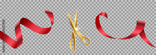 Fotografia Golden scissors cut red ribbon realistic illustration