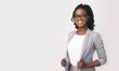 Leinwandbild Motiv African American Business Girl Smiling At Camera, Studio Shot