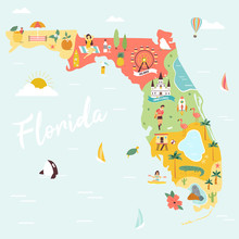 An Illustrated Map Of Florida With Destinations