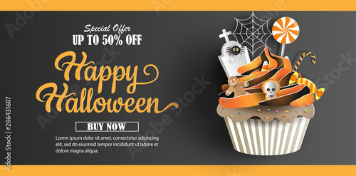 Halloween sale promotion banner with discount offer on special occasion, give voucher, banner, poster or background, paper art and craft style, cupcake with sweets decorations Wallpaper Mural
