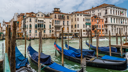 Berth with gondolas on the Grand canal