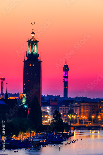 Stockholm, Sweden The City Hall and Old Town or Gamla Stan at dawn Wallpaper Mural