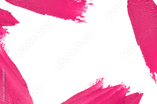 Pink color lipstick smudged around border with empty space Fototapet
