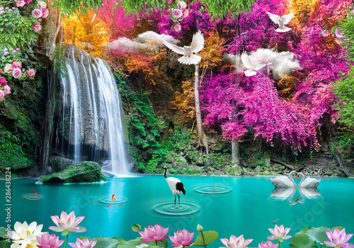 Staande foto Watervallen 3d background nature wallpaper