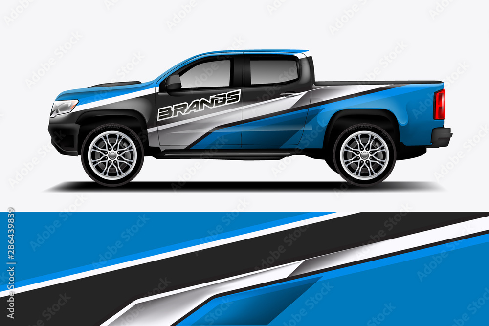 Fototapeta truck and car decal design vector kit. abstract background graphics for vehicle advertisement and vinyl wrap - vector eps 10