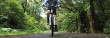 Woman Cyclist Riding Mountain ...