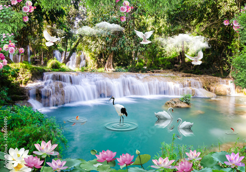 Wall Murals Waterfalls 3d background nature wallpaper