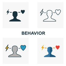 Behavior Icon Set. Four Elements In Diferent Styles From Business Ethics Icons Collection. Creative Behavior Icons Filled, Outline, Colored And Flat Symbols