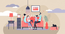 Family At Home Vector Illustration. Flat Tiny Together Joy Persons Concept.