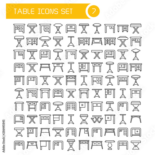 Photo  big set table and desk icons, furniture decoration set
