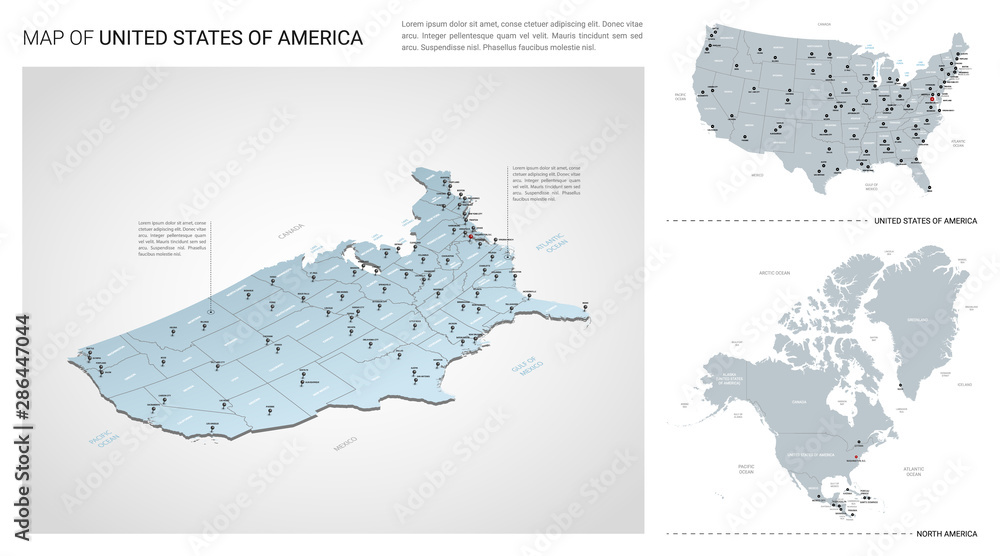 Fototapety, obrazy: Vector set of United States of America  country.  Isometric 3d map, United States of America  map, North America map - with region, state names and city names.