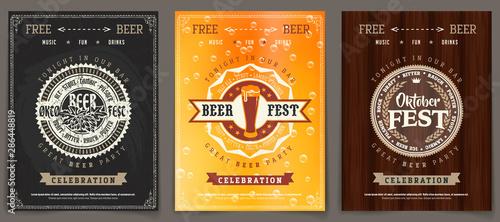 Vector Oktoberfest beer festival celebration template set of retro poster or invitation flyer on vintage background