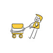 businessman pull mail yellow stick figure design