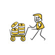 businessman carry money with trolley stick figure theme