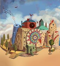 Castles, Cities, Towns, Buildings, Houses, Buildings, Illustrations, Children, Fantasies, Fantasies, Dreams, Fantasies, Wonders, Fairy Tales, Dreams, Dreams, Lovely, Interesting, Kindergarten, Imagina