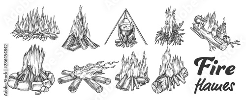 Obraz na plátně  Collection Of Different Campfire Ink Set Vector