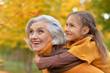canvas print picture - Grandmother with her granddaughter in the autumn park
