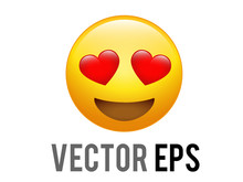Vector Yellow Happy Face With Red Heart Eyes Flat Emoji Icon