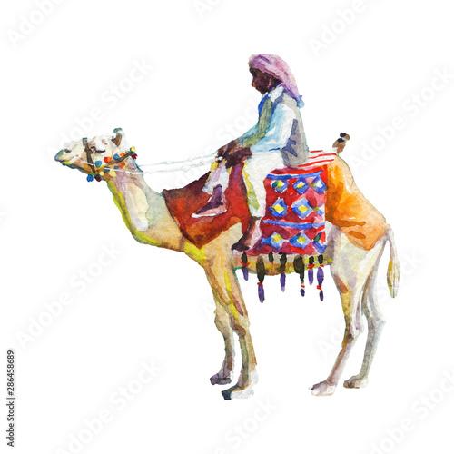 Painting arabian man and camel  Wall mural