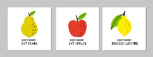 Set Of Fruit Posters. Pear, Apple, Lemon Cards.