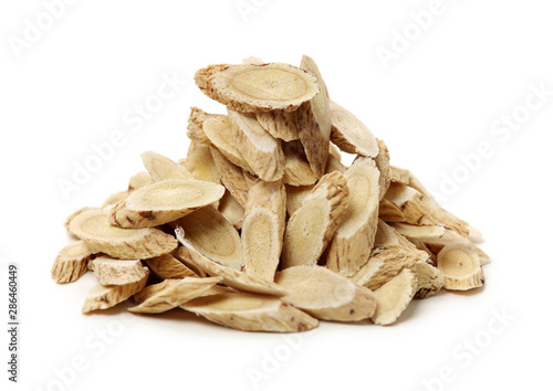 Chinese Herbal medicine - Astragalus slices, Huang Qi (Astragalus propinquus) on Canvas Print