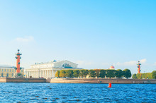 Panorama Of Vasilievsky Island Spit Of St Petersburg, Russia - Rostral Columns, Stock Exchange Building And Custom House