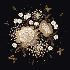 Obraz na Szkle Vintage Bouquet of flowers Ipeonies and butterflies. Gold on black background.