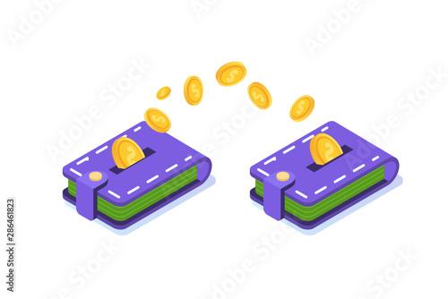 Obraz na plátne Money transfer from wallet to wallet