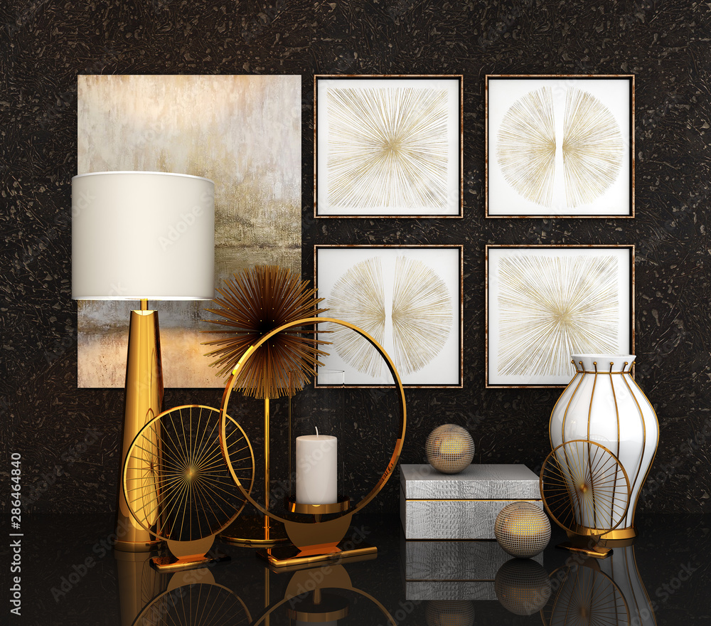 Fototapety, obrazy: the decor in the interior (3d rendering)