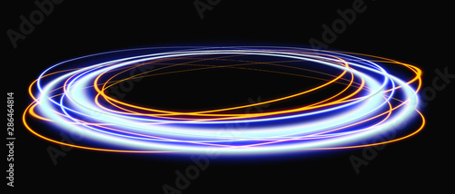 Obraz Magic portal. Space travel concept, funnel-shaped tunnel that can connect one universe with another. Blue rays of a black scene with sparks. Space tunnel. Futuristic teleport. 3d illustration - fototapety do salonu