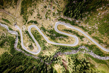 Winding Mountain Highway. Shot From Drone.