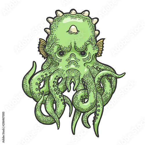 Photo Cthulhu head myth creature color sketch engraving vector illustration