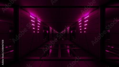Fotobehang Fractal waves pink stylish dark sci-fi tunnel qith nice glow 3d illustration background wallpaper