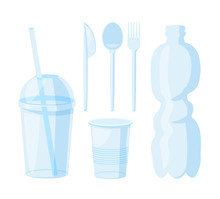 A Set Of Plastic Utensils In Cartoon. Editable Clip Art. Disposable Cup Vector Illustration Isolated On White