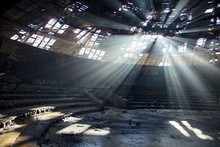 Rays Of Light Through The Roof Of Abandoned Soviet Building