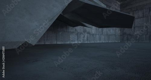 Fototapeta Abstract white and concrete interior. 3D illustration and rendering. obraz na płótnie