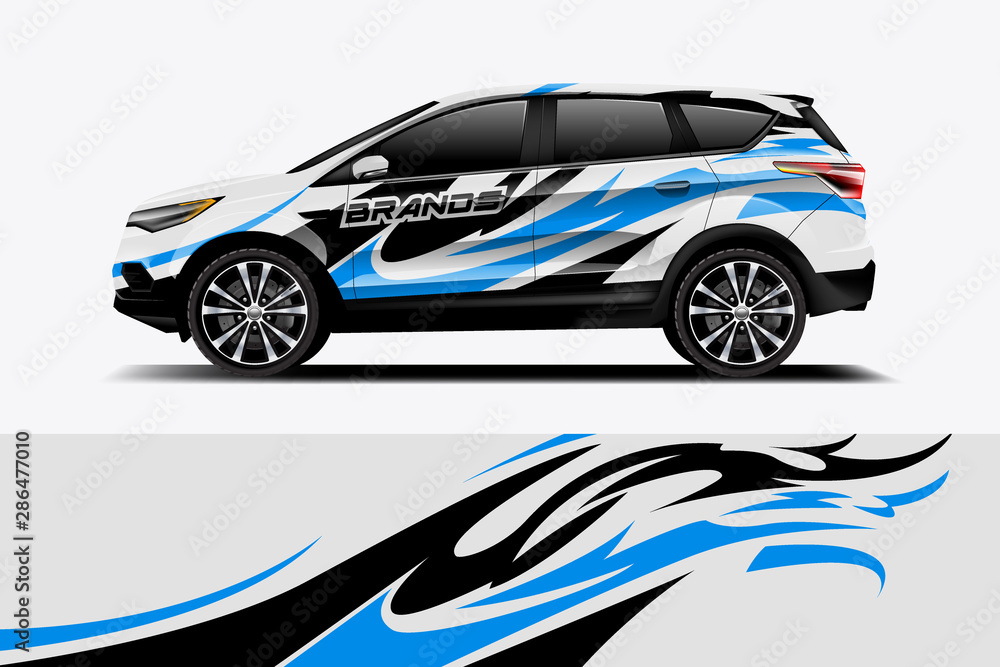 Fototapeta Car decal wrap design vector. Graphic abstract stripe racing background kit designs for vehicle, race car, rally, adventure and livery - Vector