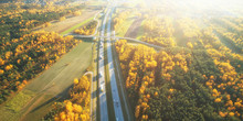 Drone View Of Highway In Autum...