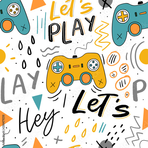 let-s-play-kids-seamless-pattern-with-joystick-for-print-textile-wallpaper-modern-illustration-with-hand-lettering-background