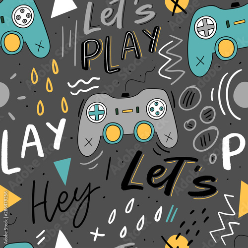 Let's play kids seamless pattern with joystick for print, textile, wallpaper. Modern illustration with hand lettering background.